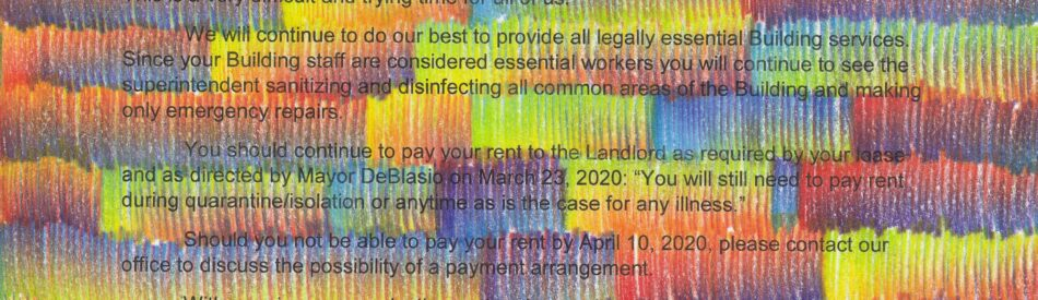 To All Tenants, 2020, multi-color pencil on a letter from the artist's landlord